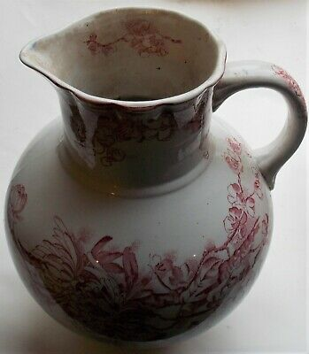AGRA VINTAGE CHINA JUG CREAM & PINK LARGE H:28cm x W:22cm Collectable