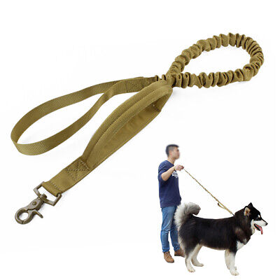 Military Police Dog Leash Rope Tactical Elastic Bungee Canine Training Strap Tan