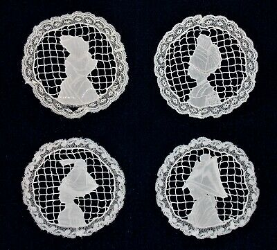 Antique Set of 4 French Normandy Figural Needlepoint Lace Doilies - VERY UNUSUAL