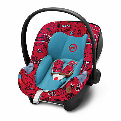 Cybex Aton M Rear Facing Car Seat with SafeLock Base, Love Red (Open Box)