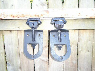 Antique Vintage Cast Iron Myers Barn Door Rollers ~Rare Orig. Track~Farm Tool
