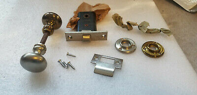 VTG Antique NOS Door Lock Latch Russwin Brass Nickel Set Woburn Mortise