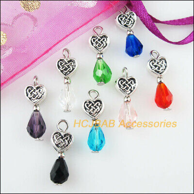 8Pcs Tibetan Silver Tone Mixed Crystal Heart Flower Charms Pendants 7x20mm