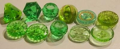 Group of small vintage green glass buttons