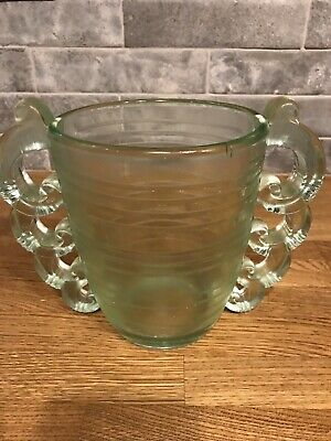 Lalique Style Pierre D'Avesn for Daum Art Deco Polished Glass Vase In Green ****