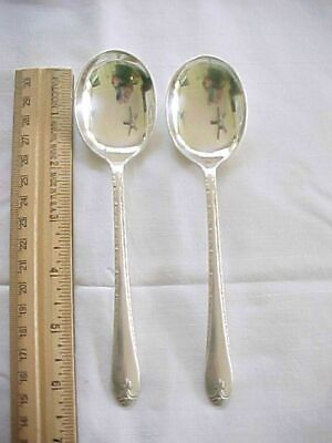 2 Round Soup Spoons Wm Rogers & Son Silver Plate Exquisite