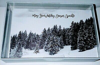 Happy Holidays Christmas Tree Box Cards 20 Count Sparkle Brand New in Box Qualit