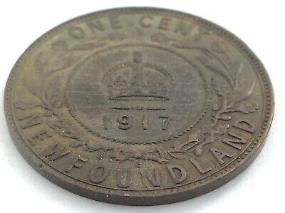 1917 Newfoundland Canada One 1 Cent Large Penny Circulated George V Coin L487
