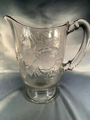 Rare Antique Eapg Three Birds Fruit Basket Water Jug Pitcher - Low Usa Shipping