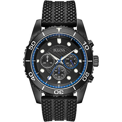 Bulova Men's Sport Quartz Chronograph Rotating Bezel Black 43mm Watch 98A211