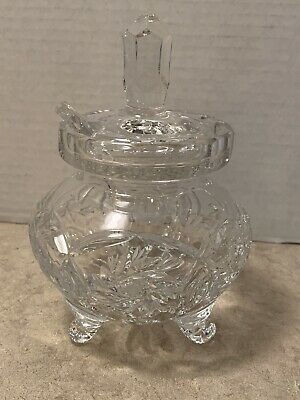 Crystal Cut Footed Condiment Jam Jar Lid & Glass Spoon Pinwheel & Star Pattern