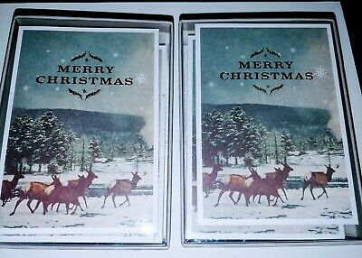 (2)Classic Deer Winter Quality Christmas Holiday Cards 20 Count Brand New in Box