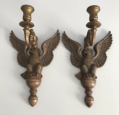 Pair of Vintage SYROCO American Eagle Wall Sconce Candle Holders Wood