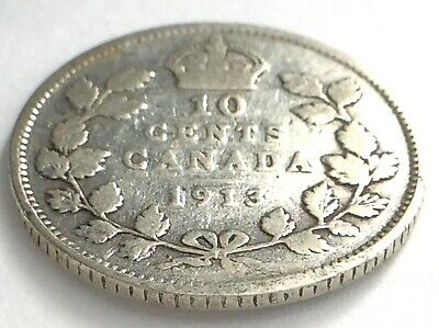 1913 Canada 10 Ten Cent Silver Dime Canadian Circulated George V Coin L491