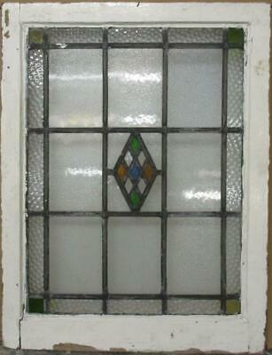 "MIDSIZE OLD ENGLISH LEADED STAINED GLASS WINDOW Bordered Diamond 20.25"" x 26.5"""