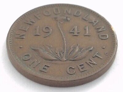 1941 Newfoundland Canada One 1 Cent Copper Penny Circulated George VI Coin L482