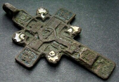 ANCIENT BRONZE ENAMEL CROSS. RELIGIOUS ARTIFACT 17 - 18 CENTURY. 45 mm. (R.090)