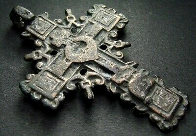 ANCIENT BRONZE CROSS RARE. RELIGIOUS ARTIFACT 17-18 CENTURY. 56 mm. (R.020)