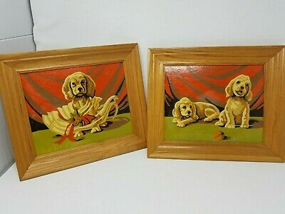 PaIr Vintage Mid Century Mod PAINT BY NUMBER Brown Puppies Framed