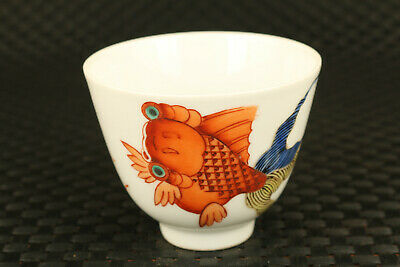 China old porcelain hand painting fortune goldfish statue wine tea cup bowl