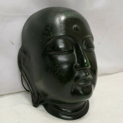 Mask Buddha Japanese Cast Metal Vintage Theatrical Hand Made Unique Signed #241