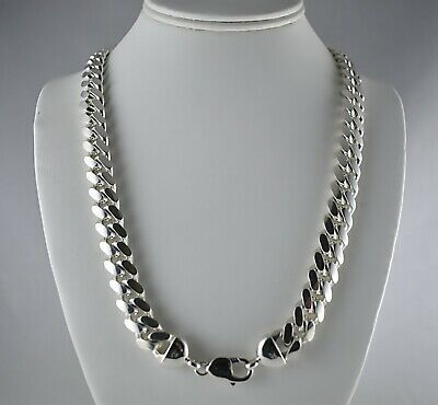 """Chunky Heavy 12mm Solid 925 Sterling Silver Miami Cuban Link Chain 24"""" 30"""" Mens"""