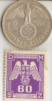 *WW2 - *german  SILVER  EAGLE coin/stamp + US ww2 nickel ++..