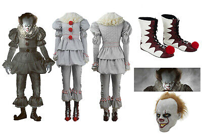 Kids Adult Stephen Kings IT Clown Pennywise Costume Cosplay Halloween Party