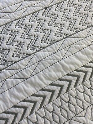 """Gorgeous Quilting On White Cotton Abstract Quilt 90"""" X 86"""""""
