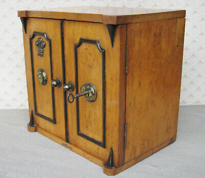 Victorian Oak Humidor Locking Drawer Cabinet in the Form of a safe