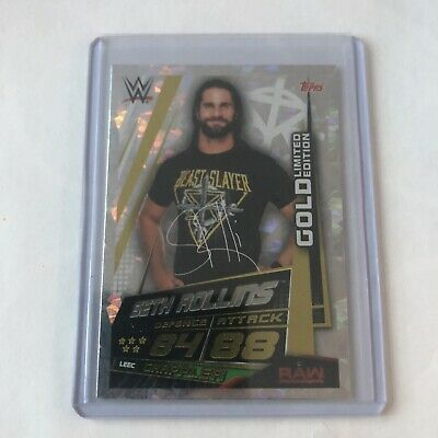 Topps Slam Attax Universe SUPER RARE Seth Rollins GOLD Limited Edition - MINT