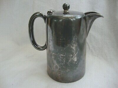 Antique Country House Silver Plate Coffee Pot Hot Water Jug Hinged Lid