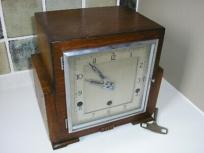 Restored 1937 Art Deco Chiming Mantle Clock