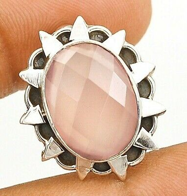 Faceted Rose Quartz 925 Solid Sterling Silver Pendant Jewelry C32-1