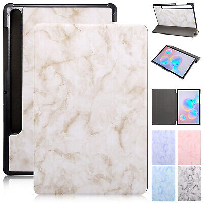 "For Samsung Tab S6 T860 T865 10.5"" Smart Leather Folding Stand Case Cover Marble"