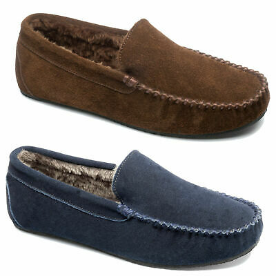 Mens FreeStep Clark Real Suede Moccasins Warm Comfy Slippers Sizes 7 to 12