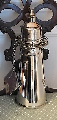 Authentic Models Lighthouse Cocktail Shaker Nickel Silver-Plated Inside Unused
