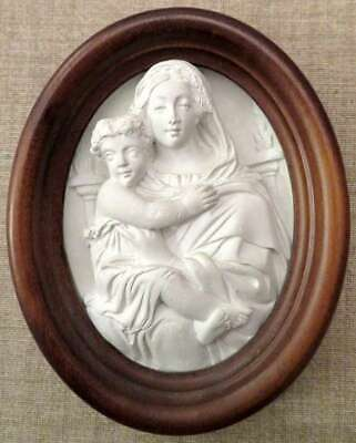 """GIPS RELIEF """"MUTTER GOTTES MIT KIND"""", in Holzrahmen, oval, Top Zustand"""