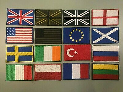 NATIONAL COUNTRY EMBROIDERED FLAG SEW ON/ IRON ON PATCH APPROX 7cm x 4.2 cm