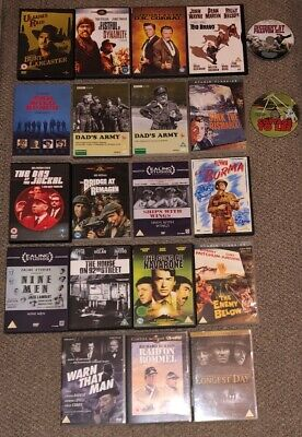 22 Classic War & Western Movies On DVD Job Lot PAL Region Superb Condition WWII