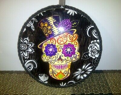 "1 Sugar Skull Dia De Los Muertos/Day of the Dead Ceramic Hanging Trivet 5.5"" D."