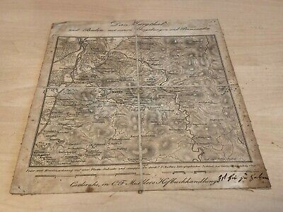Small Antique (c.1819) Cloth Map Das Murgthal & Baden Black Forest Germany