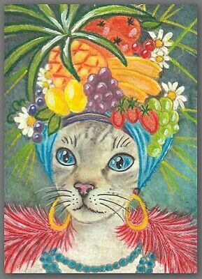 ACEO watercolor painting  - cat kitten exotic fruit lady