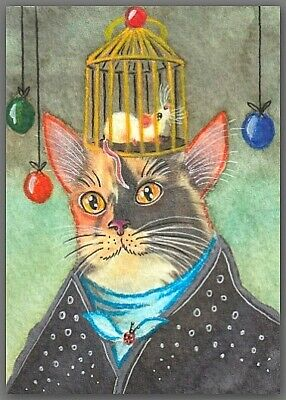 ACEO watercolor painting  - cat kitten mouse mice cage hat