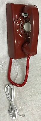 Vintage 1950s WESTERN ELECTRIC A/B 554 12-59 RED Rotary Dial Wall Mount Phone