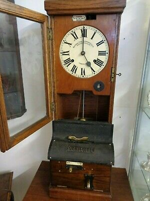 National Time Recorder - Oak Cased - Factory Clocking In & Out Clock