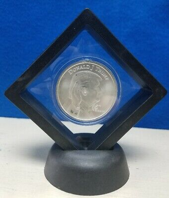 Donald J. Trump 45th President Commemorative Silver Round with Display Stand