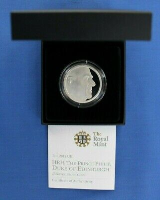 """2011 Silver Proof £5 Crown """"Prince Philip's 90th"""" in Case with COA    (AG3/16)"""