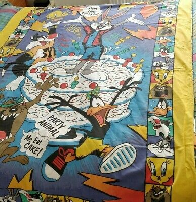 Looney Tunes Birthday Party Reversible Single Duvet Cover & Pillow Case 1993