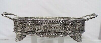 Ornate Oval Silver Plated Footed Serving Tray With Raised Gallery Dept 56 Heavy